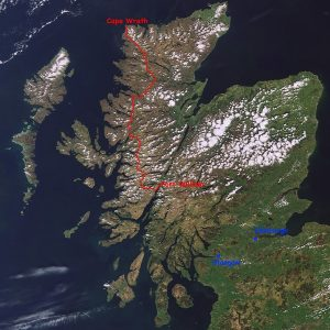 Above: The approximate route of the Cape Wrath Trail (not the Cape Wrath Ultra™).