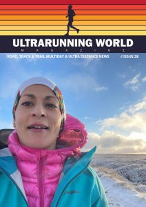 Sabrina Verjee on the front cover of january's issue of ultrarunning world magazine